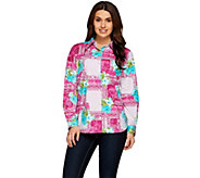 Susan Graver Printed Stretch Cotton Button Front Shirt - A273893