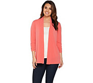 Susan Graver Liquid Knit Open Front 3/4 Sleeve Cardigan - A277793
