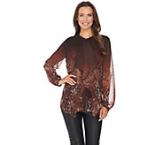 Dennis Basso Ruffle Front Animal Lace Print Blouse - A278693