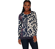 LOGO by Lori Goldstein Cotton Cashmere Printed Sweater with Lace Hem - A279393