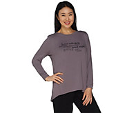 AnyBody Loungewear Cozy Knit Inspirational Message Top - A281193