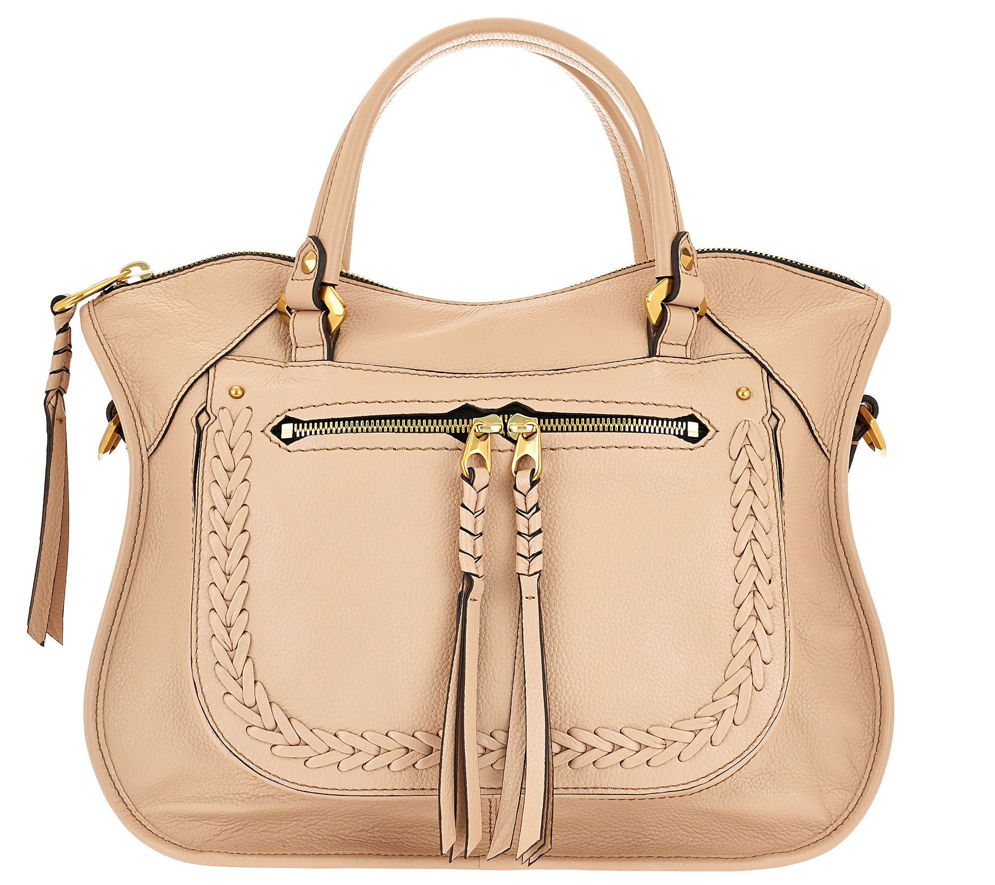 As Is Oryany Pebble Leather Satchel With Braiding Detail Sarah Page 1 Qvc