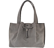 As Is H by Halston Croco Embossed Suede Satchel Handbag - A285193