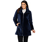 Dennis Basso Chevron Grooved Faux Fur Coat with Collar - A287493