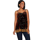 LOGO Lavish by Lori Goldstein Burnout Velvet Cami Tank with Lace - A294693