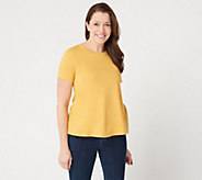 LOGO Principles by Lori Goldstein Knit Top with Short Sleeves - A301993