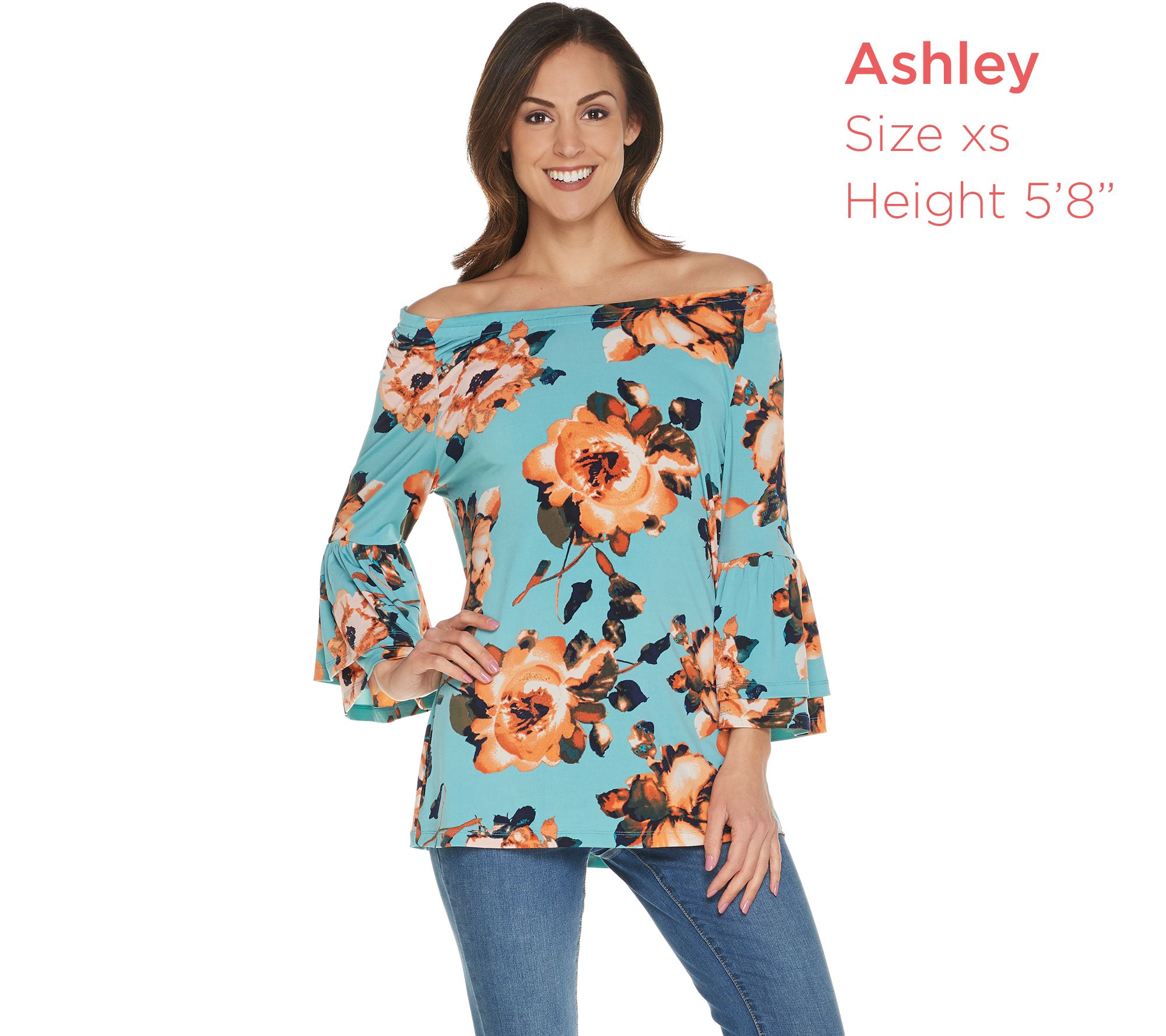 9bb7056ae9 Studio by Denim & Co. Floral Print 3/4 Bell Sleeve Peasant Top - Page 1 —  QVC.com