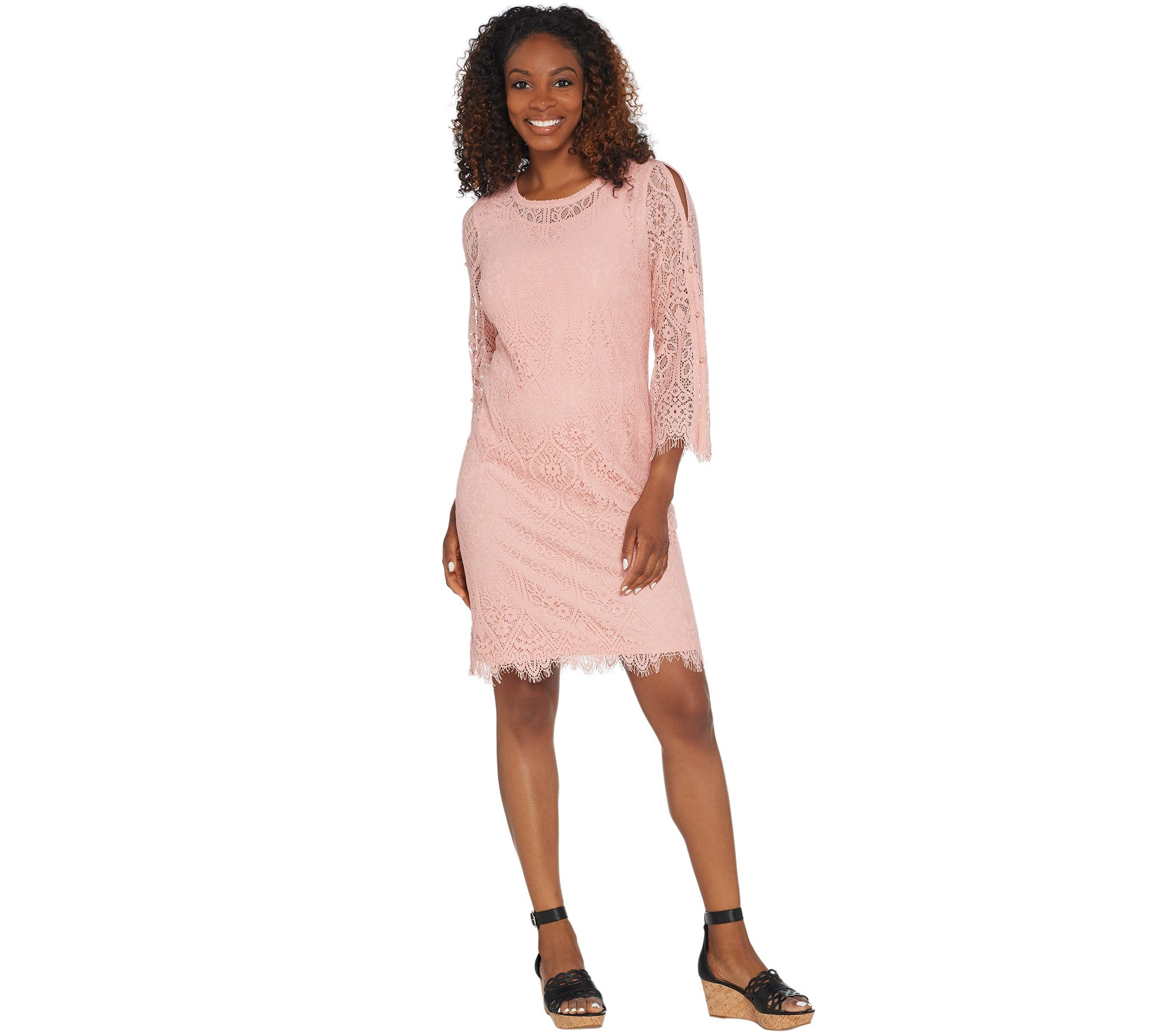 af659ccef1f Isaac Mizrahi Live! Lace Split Sleeve Dress with Faux Pearls - Page ...