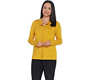 Dennis Basso Textured Snap Front Cardigan Sweater - A311293