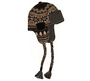 MUK LUKS Traditional Knit Button Top Trapper Hat for Men - A320493