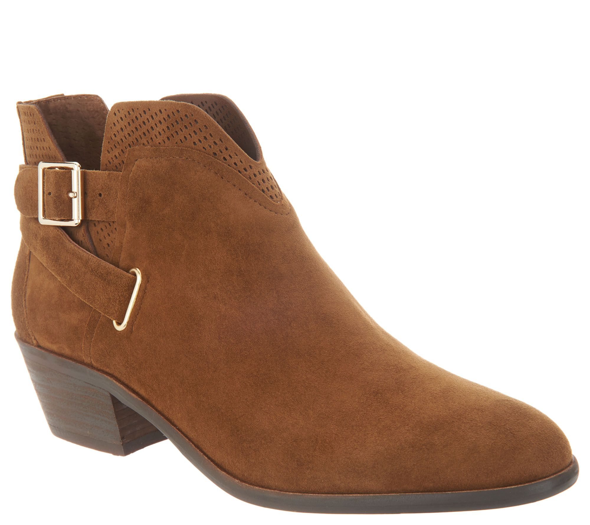 a3670eced8c Vince Camuto Suede Exposed Ankle Booties - Panthea — QVC.com