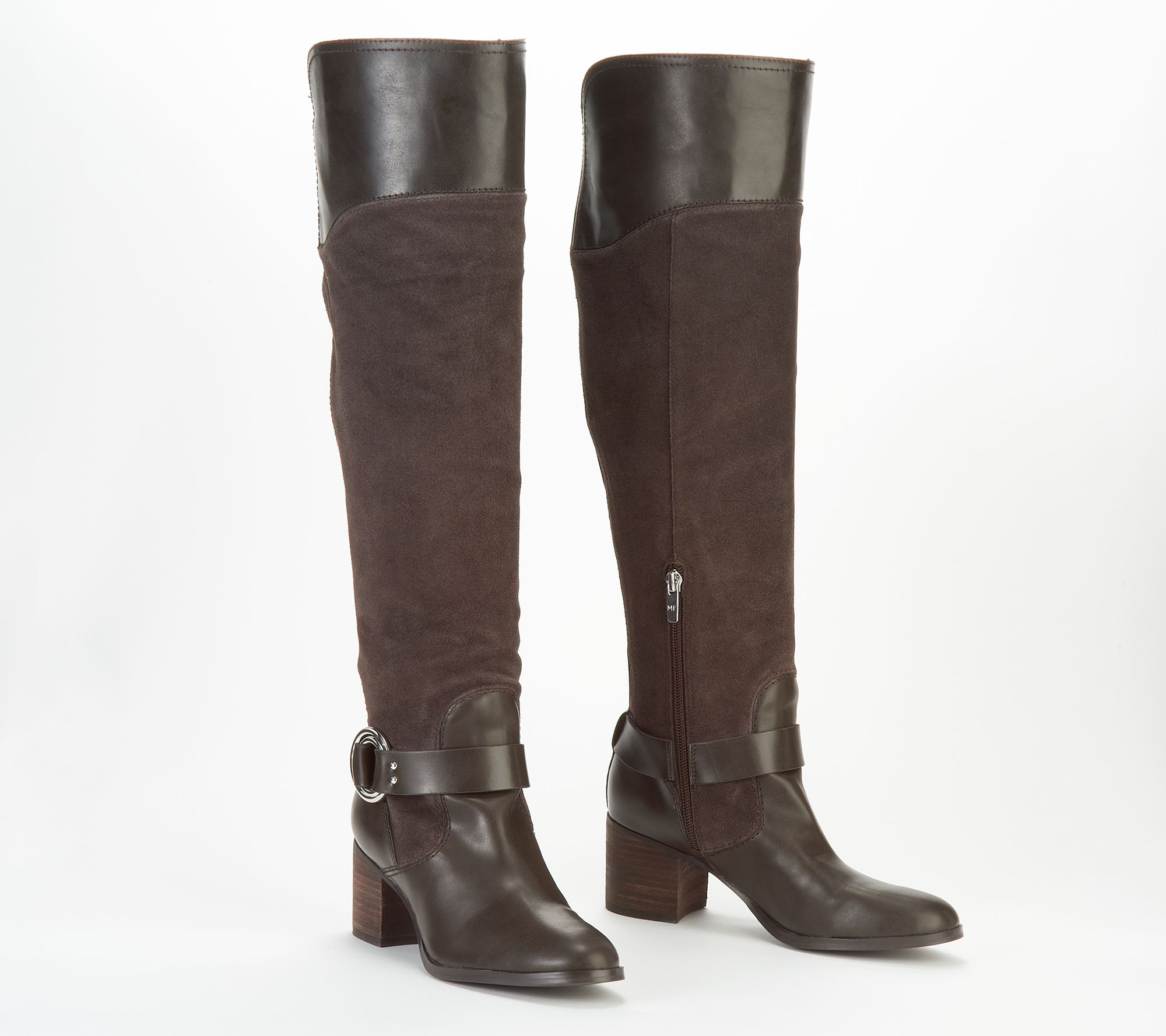 031fe18aefd Marc Fisher Leather/Suede Wide Calf Over the Knee Boots - Editer — QVC.com