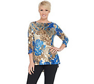 Susan Graver Printed Brushed Liquid Knit 3/4-Sleeve Top - A347093