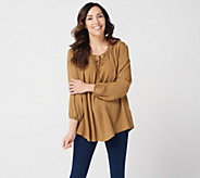 LOGO by Lori Goldstein Woven Crepe Collared Blouse w/ Shirred Neck - A347193
