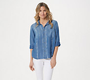 Side Stitch Tencera Printed 3/4-Sleeve Button Front Tunic - A350093