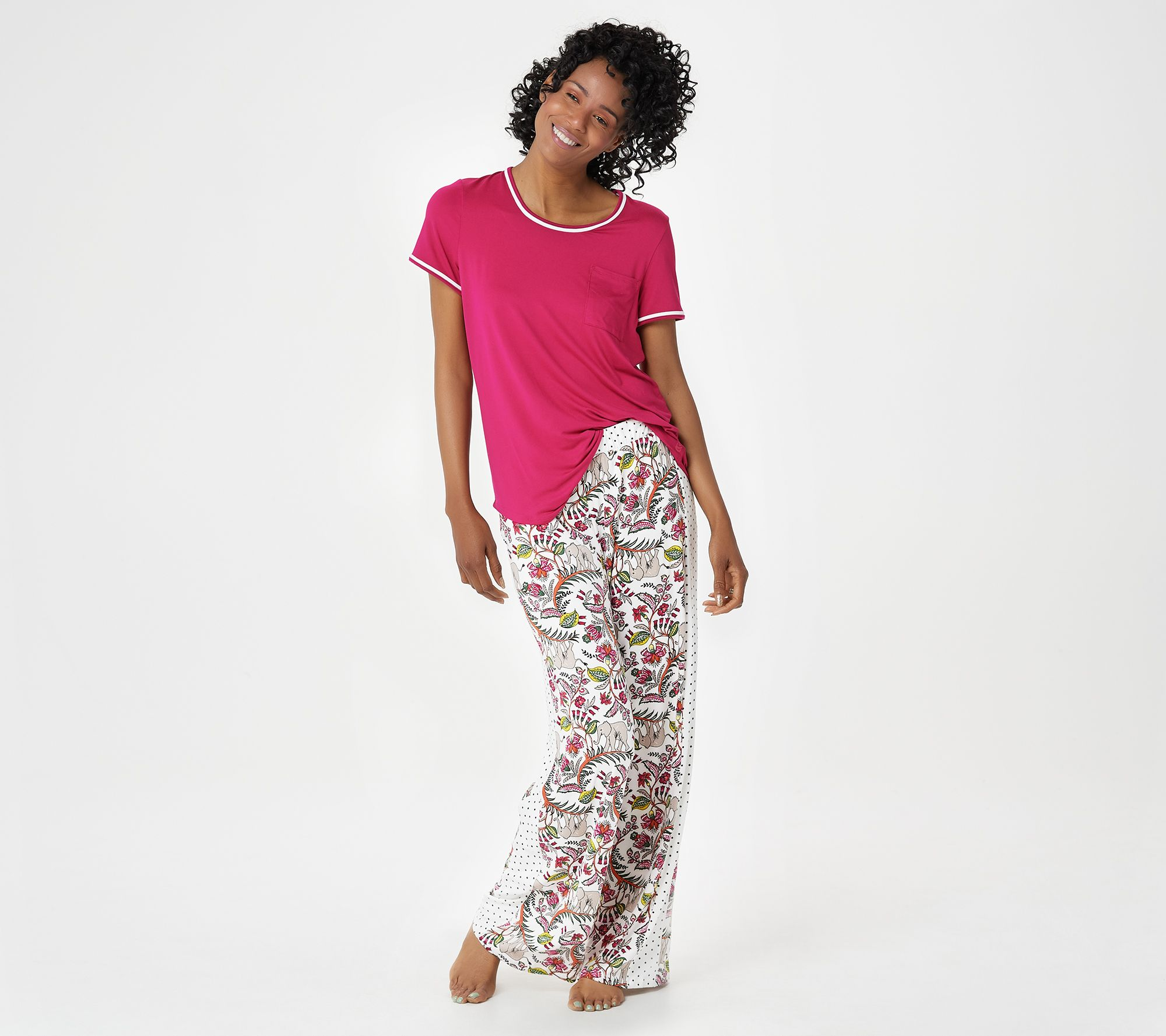 4d5ad0a62e3 Cuddl Duds Tall Cool   Airy Color- Block Print Pajama Set - Page 1 — QVC.com
