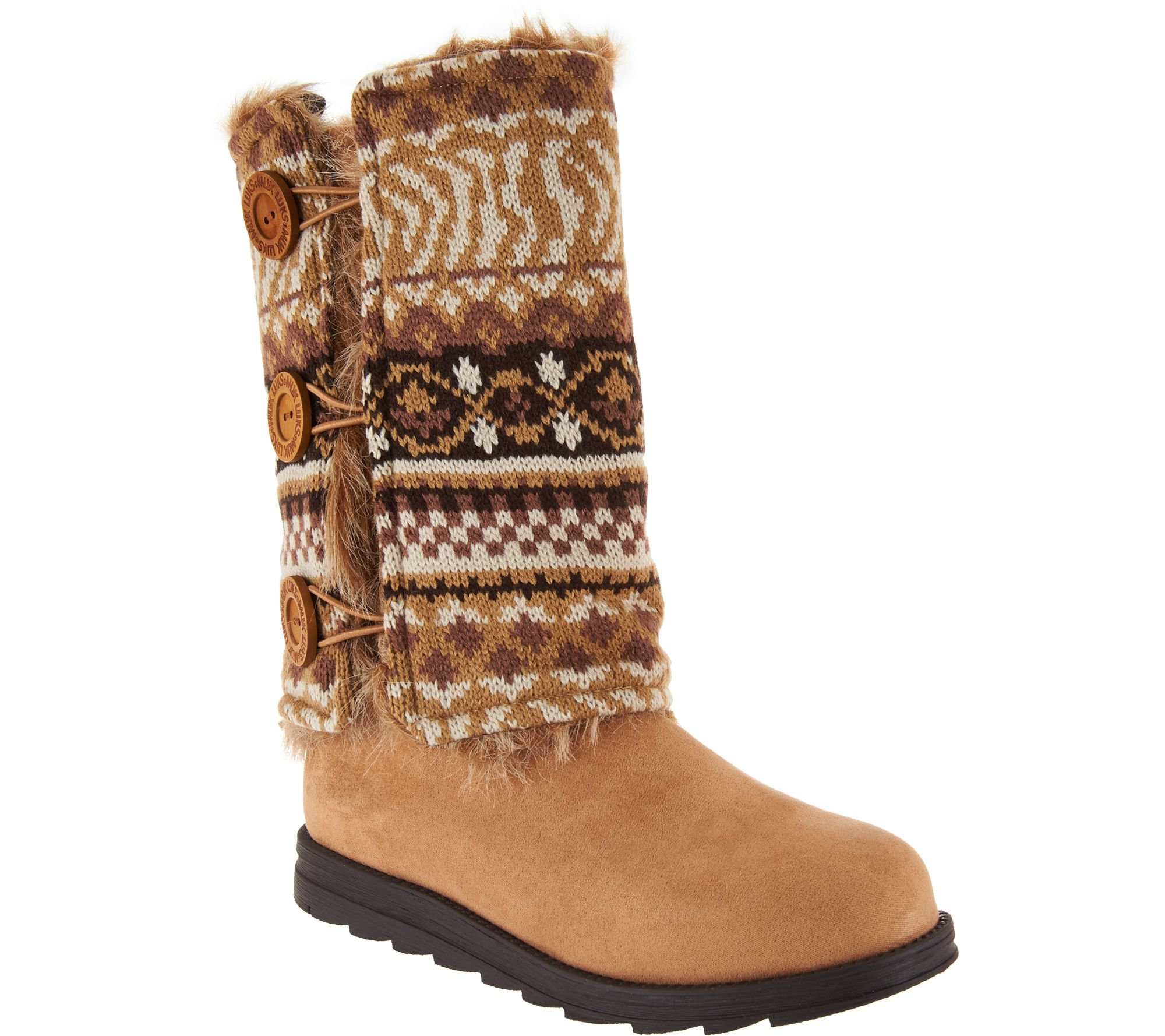 MUK LUKS Andrea 4-in-1 Boot with Reversible Boot Sweater - Page 1 — QVC.com fe336948c