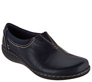 As Is Clarks Leather Slip-On Shoes- Ashland Joy - A354193