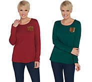 As Is Quacker Factory Set of Two Knit Tops with Gold Sequin Pocket - A366793
