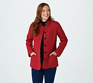Joan Rivers Quilted Barn Jacket with Printed Lining - A384593