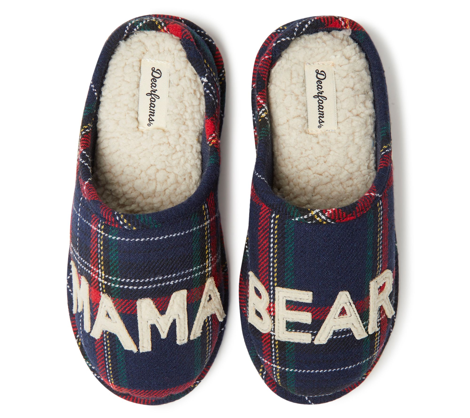 online store first rate size 7 Dearfoams Mama Bear Plaid Clog Slippers — QVC.com