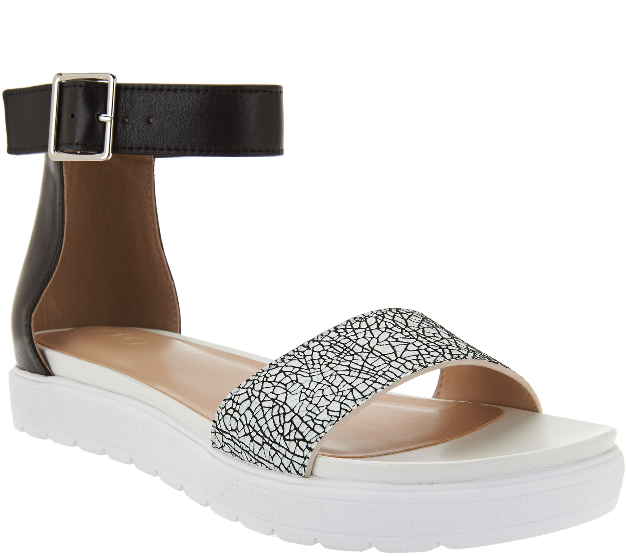 LOGO by Lori Goldstein Leather Crossover Strap Sandals buy cheap official sEeecKlk