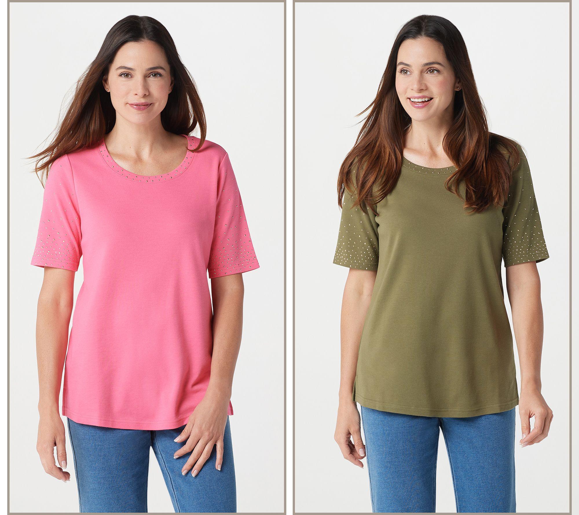 buy cheap huge inventory discount coupon Quacker Factory Golden Tones Set of 2 Elbow Sleeve T-shirts — QVC.com