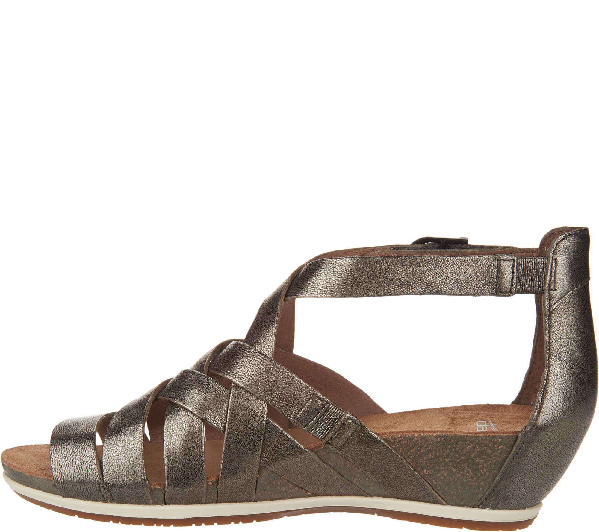 5fe2014b739 Dansko Leather Multi-strap Wedge Sandals - Vivian - Page 1 — QVC.com