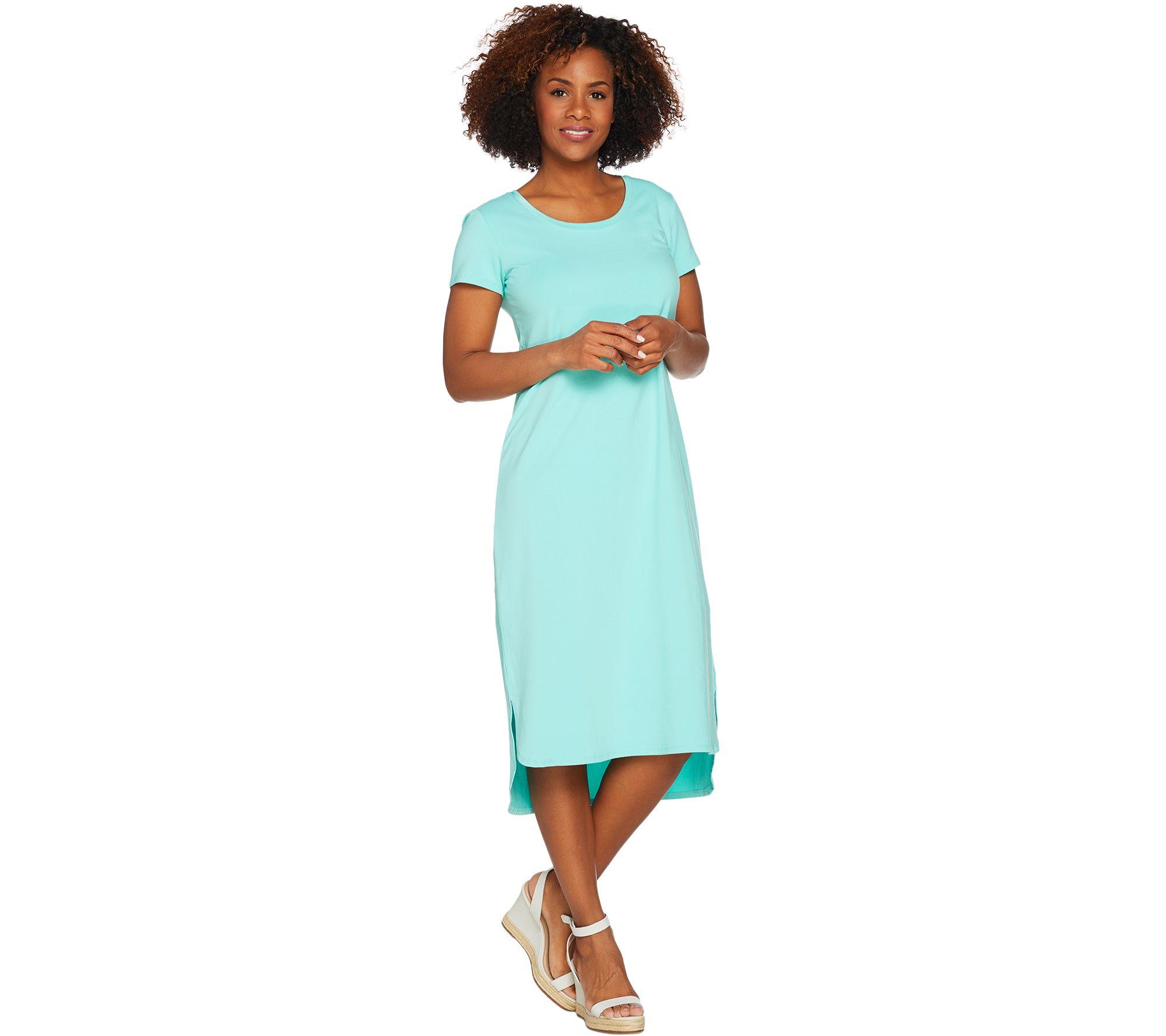 H by Halston Regular Essentials Knit Midi Dress w/ Shirttail Hem — QVC.com