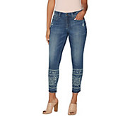 Laurie Felt Classic Denim Printed Stiletto Jeans with Drop Hem - A305694