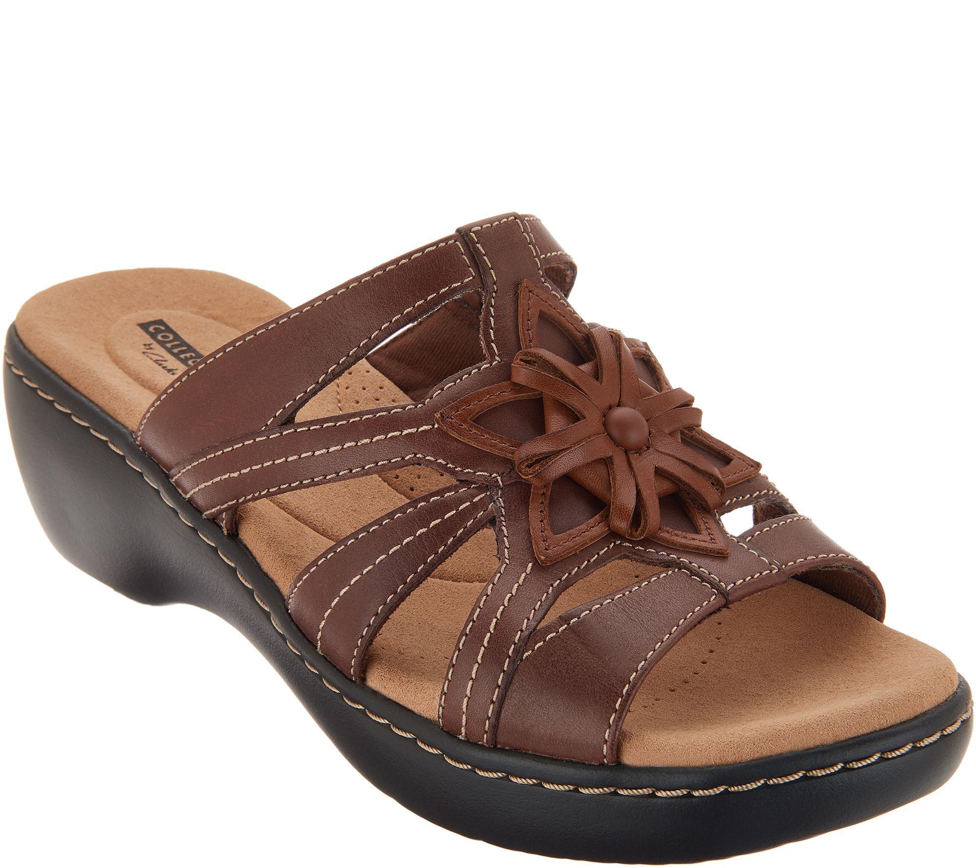 1b496230d20b Clarks Leather Lightweight Floral Detail Slides - Delana Venna - Page 1 —  QVC.com