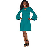 Isaac Mizrahi Live! Pebble Knit Keyhole Dress with Ruffle Sleeves - A309994