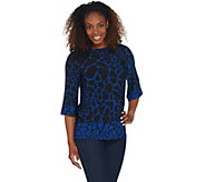 Susan Graver Printed Liquid Knit Bateau Neck Top - A310094