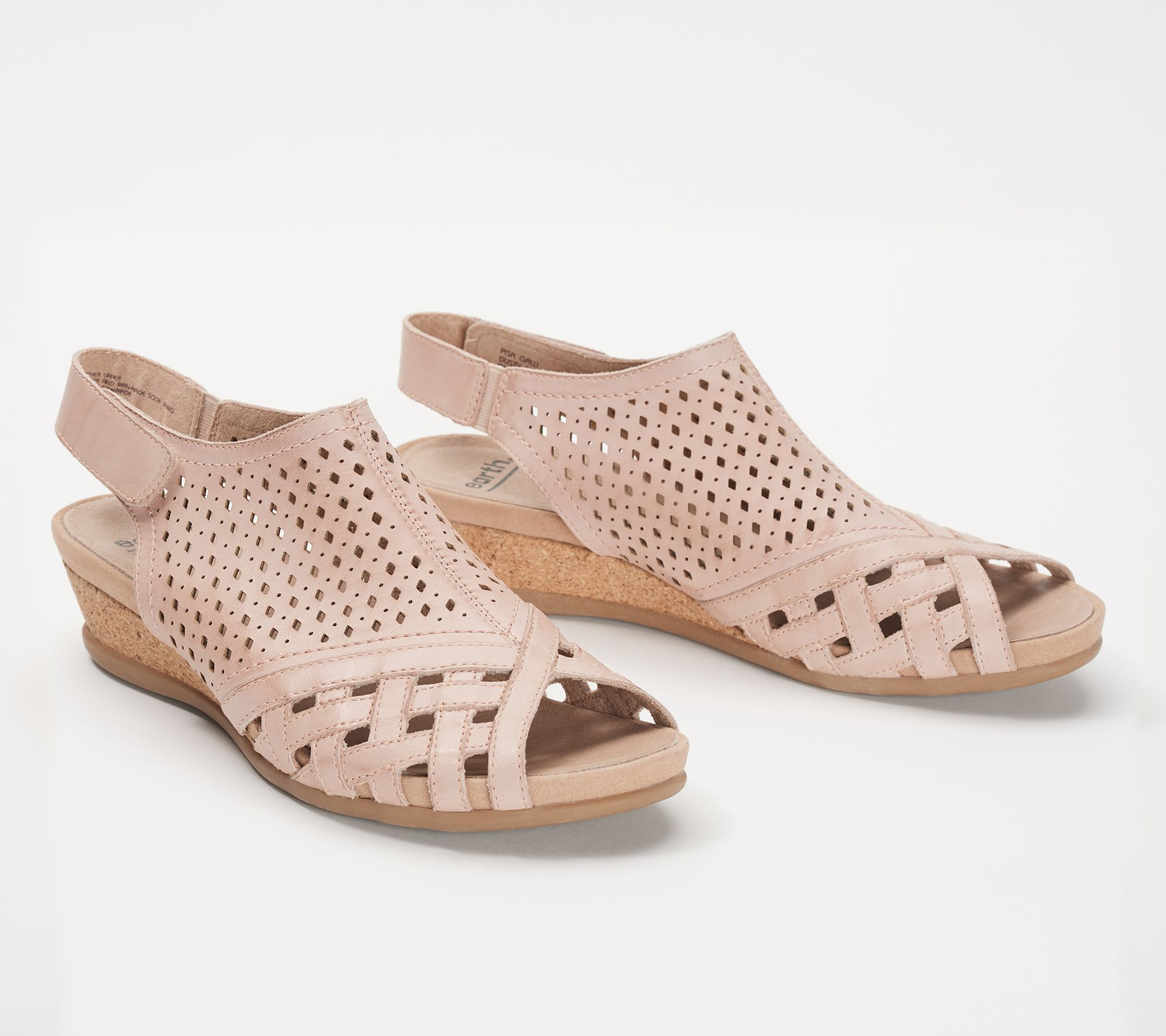 50be57200f81 Earth Leather Perforated Wedge Sandals- Pisa Galli - Page 1 — QVC.com
