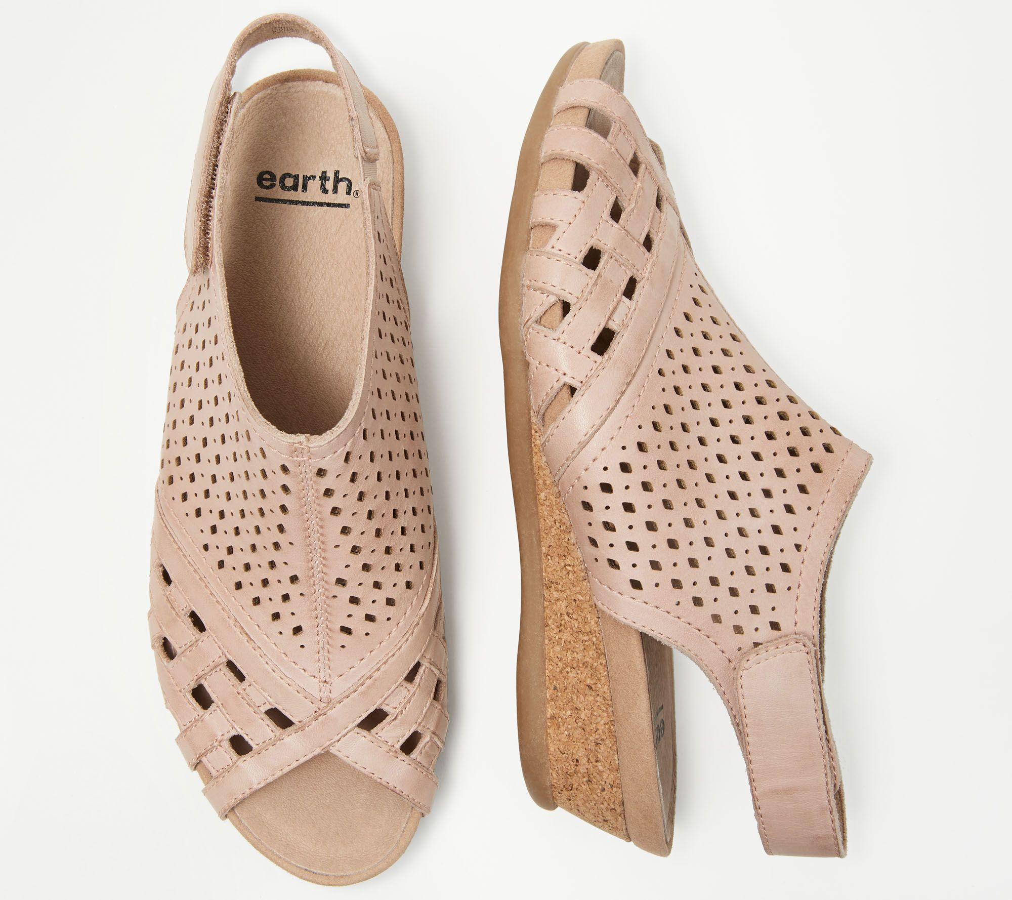 e1d9eb5122e Earth Leather Perforated Wedge Sandals- Pisa Galli - Page 1 — QVC.com