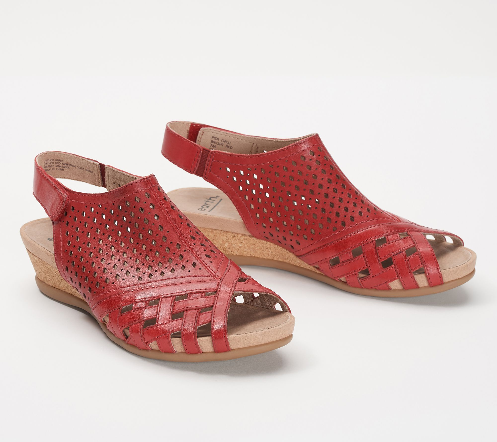 28d49e8adbec Earth Leather Perforated Wedge Sandals- Pisa Galli - Page 1 — QVC.com