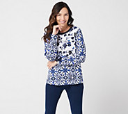 Susan Graver Weekend Printed French Terry Top with Rib Trim - A347094