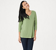 H by Halston Essentials 3/4-Sleeve Top with Shirttail Hem - A352994