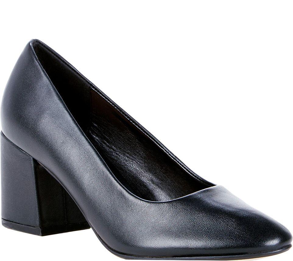522a1f47ff0d Sole Society Leather Block Heel Pumps - Elle — QVC.com