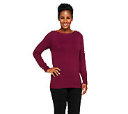 Susan Graver Boat Neck Long Sleeve Sweater with Buttons - A211795
