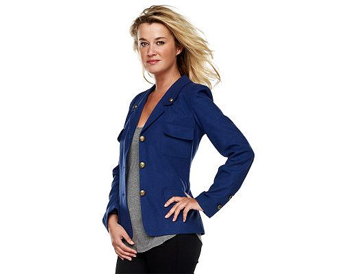 Luxe Rachel Zoe Notch Collar Military Jacket w/ Front Pockets