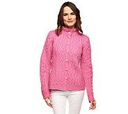 Aran Craft Merino Wool Mandarin Collar Button Front Cardigan - A228595