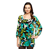 Isaac Mizrahi Live! 3/4 Sleeve Lily Bouquet Print Tunic - A229295