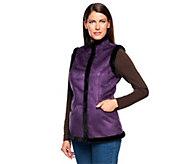 As Is Denim & Co. Faux Suede Snap Front Vest with Faux Fur Trim - A236495