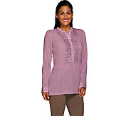 LOGO by Lori Goldstein Knit Top with Embellished Front Placket - A264595