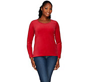Denim & Co. Velour Long Sleeve Scoop Neck Top - A271295
