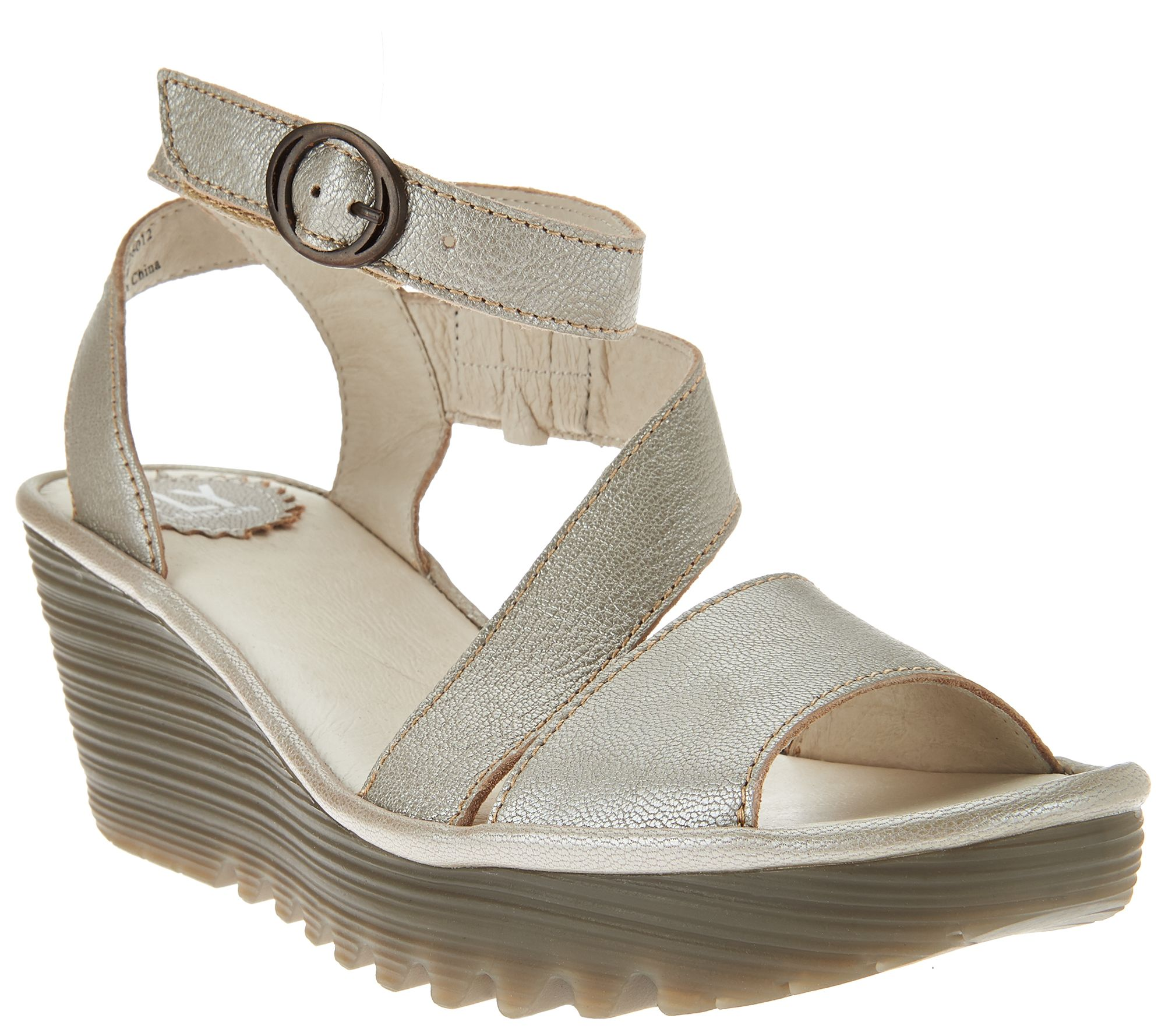2b5c8f56a20 FLY London Leather Asymmetrical Strap Wedge Sandals - Yesk - Page 1 —  QVC.com