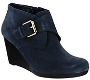 As Is Isaac Mizrahi Live! Suede Ankle Boots with Buckle - A276095