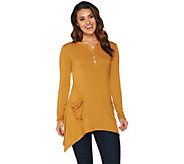 LOGO by Lori Goldstein Solid Henley Top with Patch Pockets - A282795