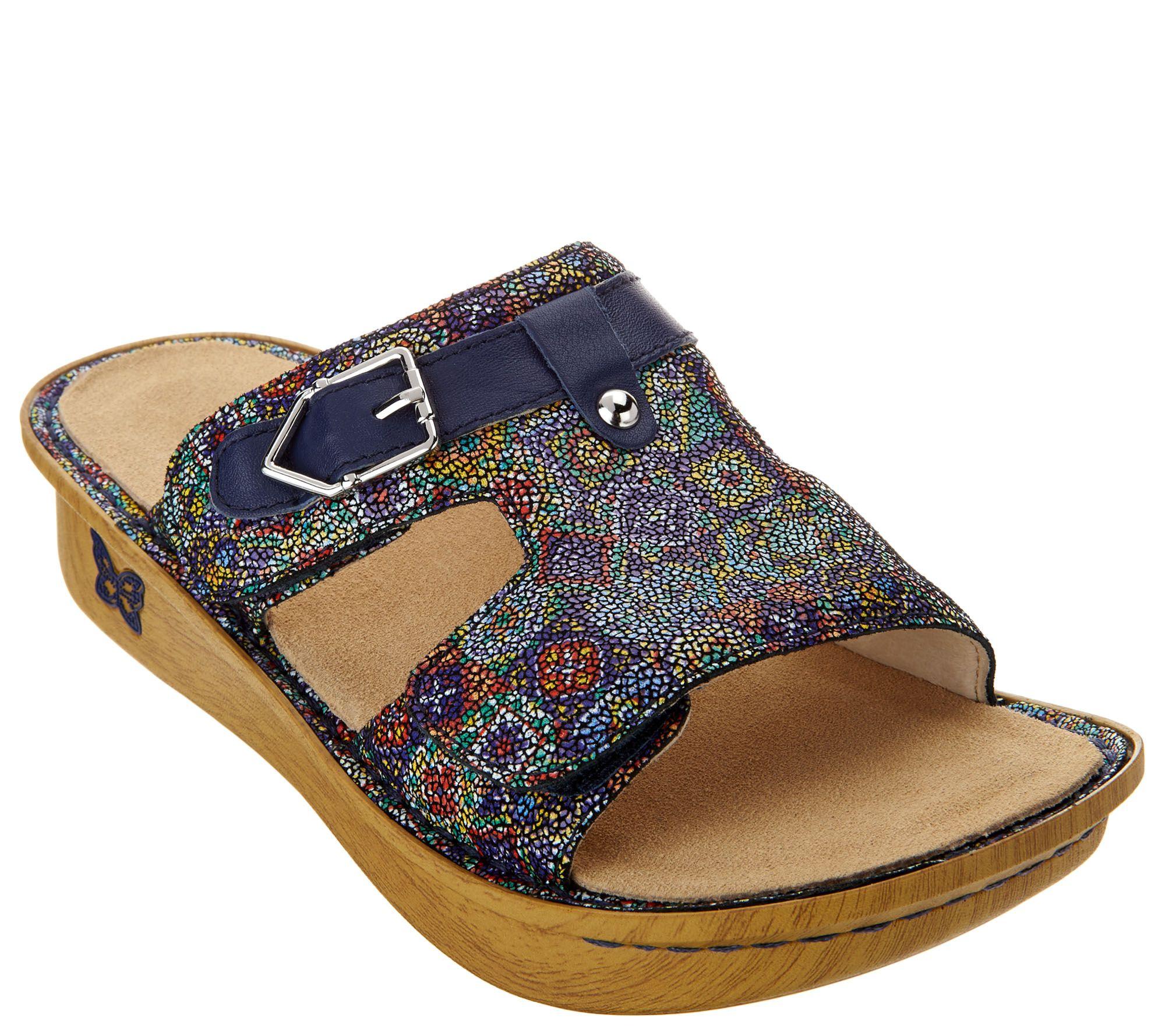e302bf957e8 Alegria Leather Adjustable Slide Sandals - Peggy - Page 1 — QVC.com